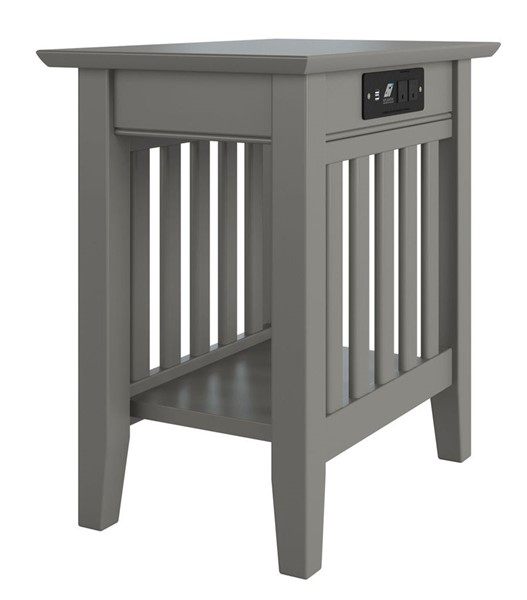 Atlantic Furniture Mission Grey Chair Side Table with Charging Station AH13219
