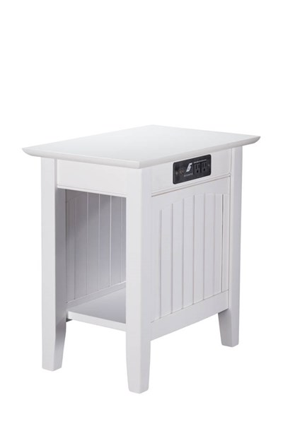 Nantucket Cottage White Solid Wood USB Charging Ports Chair Side Table AH13312