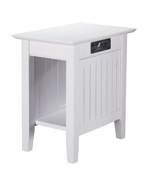 Atlantic Furniture Nantucket White Chair Side Table with Charging Station AH13312