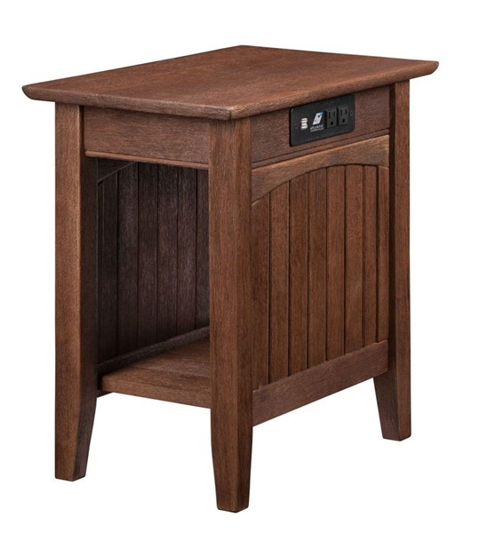 Atlantic Furniture Nantucket Burnt Amber Chair Side Table with Charging Station AH13313