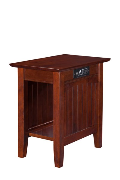 Nantucket Walnut Solid Wood USB Charging Ports Chair Side Table AH13314