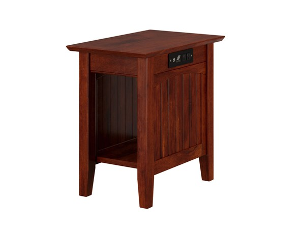 Atlantic Furniture Nantucket Walnut Chair Side Table with Charging Station AH13314