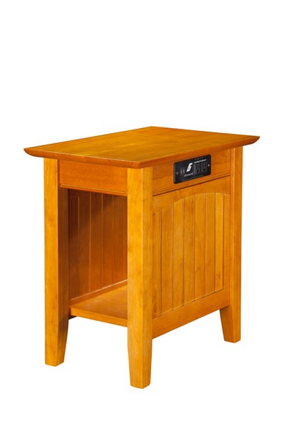 Nantucket Caramel Latte Solid Wood USB Charging Ports Chair Side Table AH13317