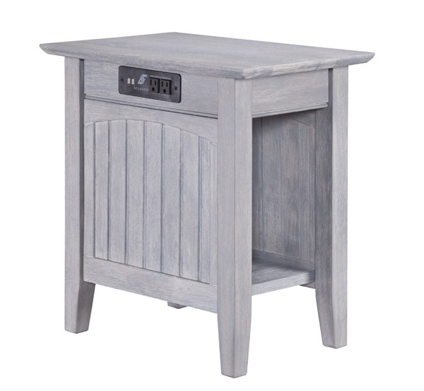 Atlantic Furniture Nantucket Driftwood Grey Chair Side Table with Charging Station AH13318