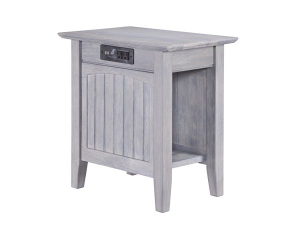 Atlantic Furniture Nantucket Driftwood Grey Chair Side Table with Charger AH13318
