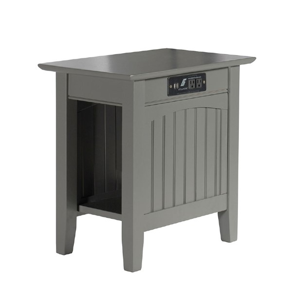 Atlantic Furniture Nantucket Grey Chair Side Table with Charging Station AH13319