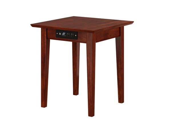 Atlantic Furniture Shaker Walnut End Table with Charger AH14114
