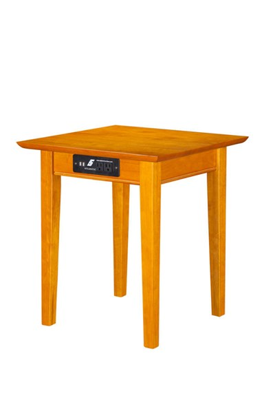 Atlantic Furniture Shaker Caramel Latte End Table with Charger AH14117
