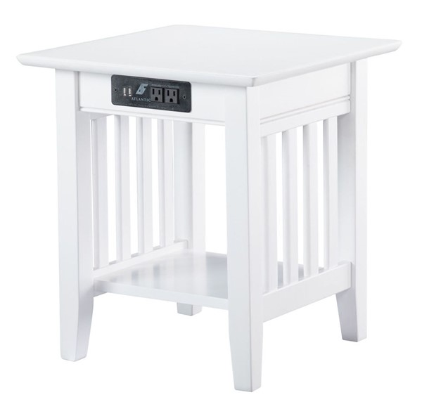 Atlantic Furniture Mission White End Table With Charger AH14212
