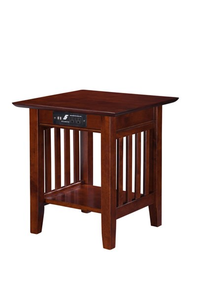 Mission Craftsman Walnut Solid Wood USB Charging Ports End Table AH14214