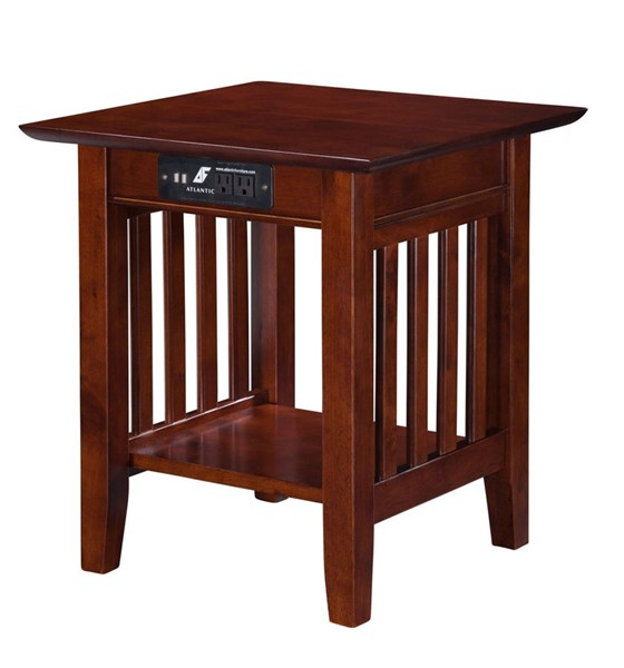 Atlantic Furniture Mission Walnut End Table with Charger AH14214