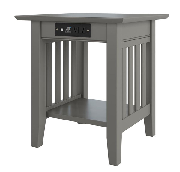 Atlantic Furniture Mission Grey End Table with Charger AH14219
