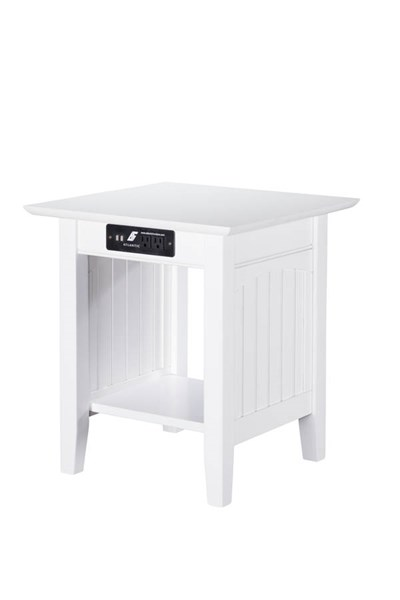 Nantucket Cottage White Solid Wood USB Charging Ports End Table AH14312