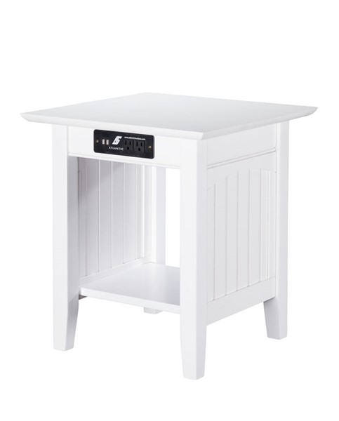 Atlantic Furniture Nantucket White End Table with Charging Station AH14312