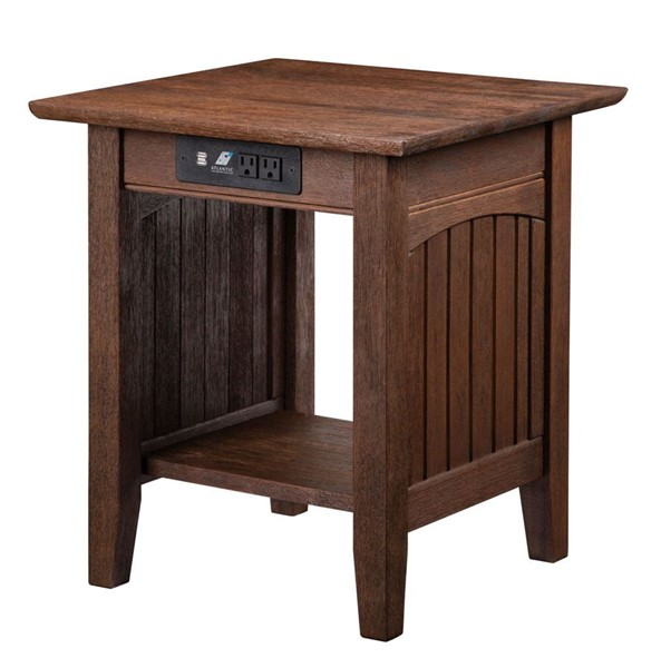 Atlantic Furniture Nantucket Burnt Amber End Table with Charging Station AH14313