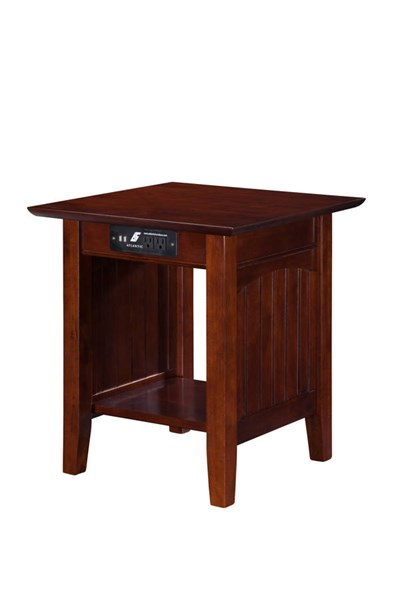 Nantucket Cottage Walnut Solid Wood USB Charging Ports End Table AH14314