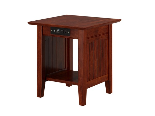 Atlantic Furniture Nantucket Walnut End Table with Charging Station AH14314