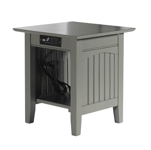 Atlantic Furniture Nantucket Grey End Table with Charging Station AH14319