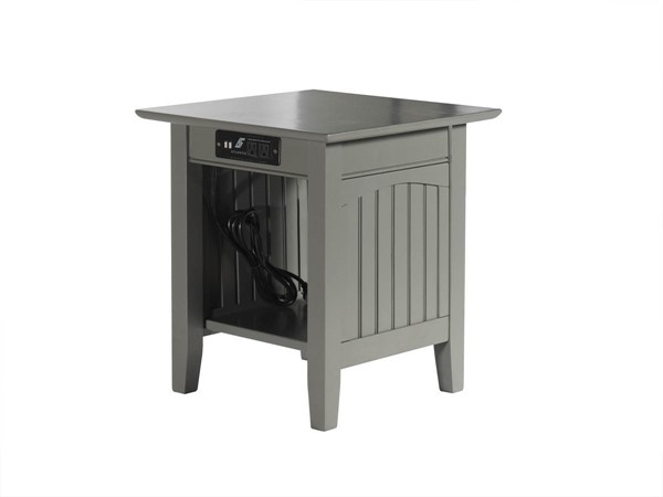 Atlantic Furniture Nantucket Grey End Table with Charger AH14319