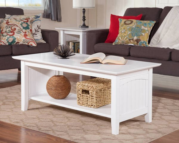 Nantucket Cottage White Solid Wood 3pc Coffee Table Set AH15302-AH14302