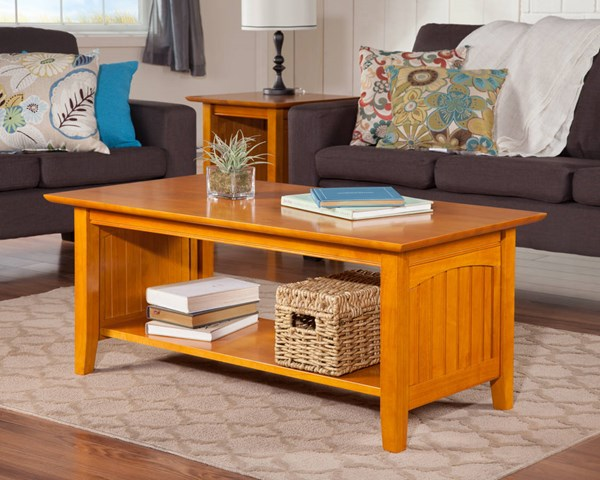 Nantucket Cottage Caramel Latte Solid Wood 3pc Coffee Table Set AH15307-AH14307
