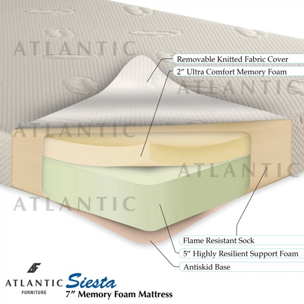 Atlantic Furniture Siesta Woven Memory Foam Mattress with Foundation AM5511-VAR