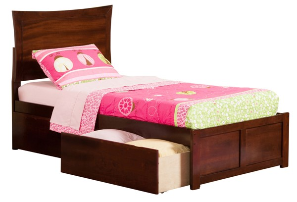 Atlantic Furniture Miami Antique Walnut Flat Panel Footboard and Drawers Twin Bed AP8722114