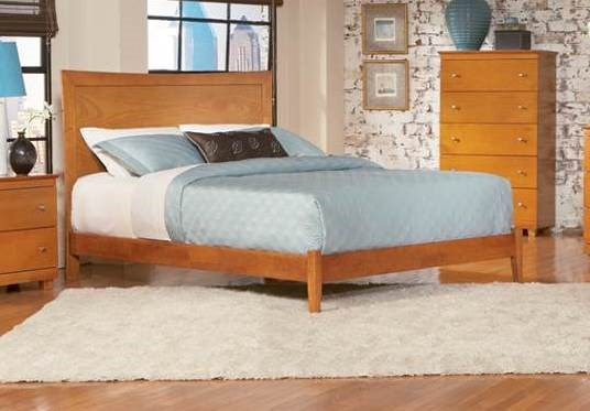 Miami Modern Antique Walnut Caramel Latte Solid Wood Queen Beds AP8741004-QB