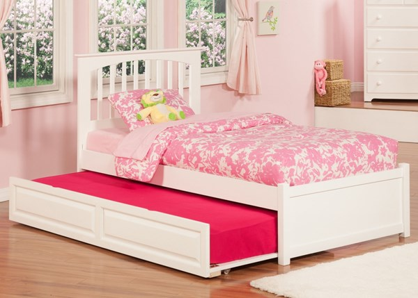 Atlantic Furniture Brooklyn White Raised Panel Trundle and Flat Panel Footboard Beds AP902-903-RPT-VAR