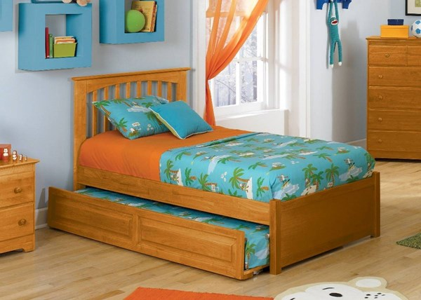 Brooklyn Caramel Wood Twin Bed w/Flat Panel Footboard & Raised Trundle AP9022017