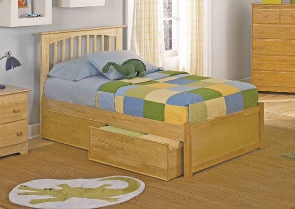 Brooklyn Natural Maple Twin Bed w/Flat Panel Footboard & 2 Drawers AP9022115