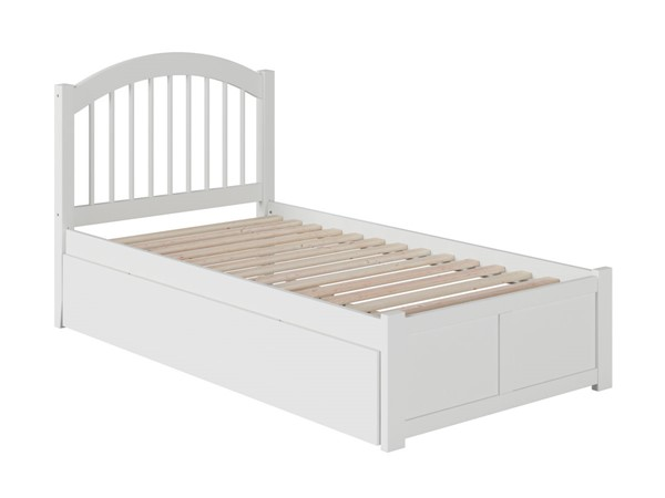 Atlantic Furniture Windsor White Flat Panel Footboard and Raised Trundle Twin Bed AP9422012