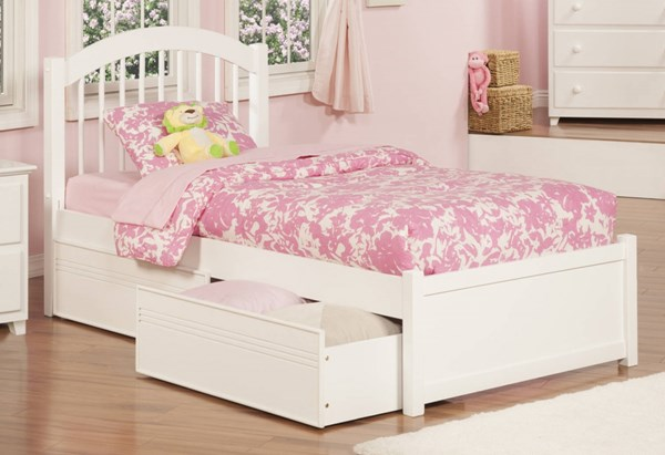 Windsor Traditional White Wood Flat Panel Foodboard Twin Drawers Bed AP9422112
