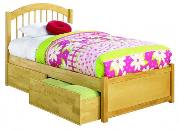 Windsor Natural Flat Panel Footboard & Flat Panel Drawers Twin Bed AP9422115
