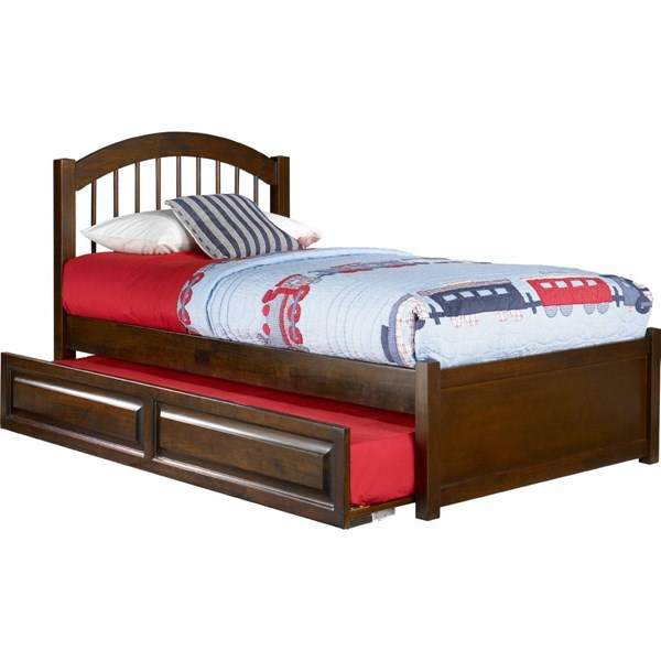 Atlantic Furniture Windsor Walnut Flat Panel Footboard and Raised Trundle Full Bed AP9432014
