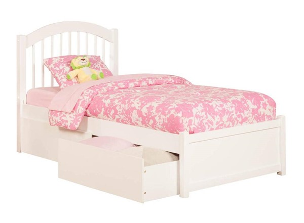 Atlantic Furniture Windsor White Flat Panel Footboard and Drawers Queen Bed AP9442112