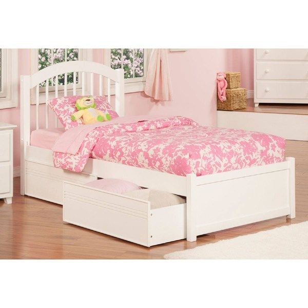 Windsor White Wood Flat Panel Footboard & Flat Panel Drawers Full Bed AP9432112