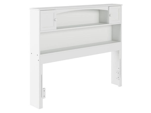 Atlantic Furniture Newport White Wood Full Bookcase Headboard AR285832