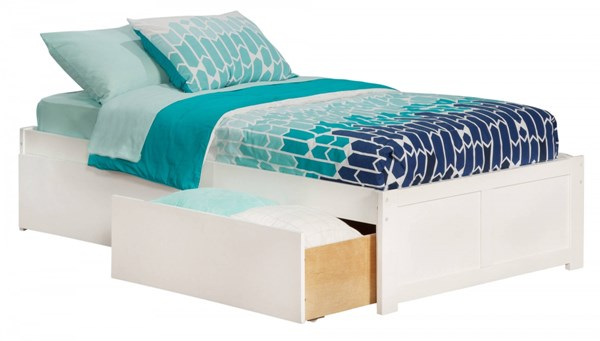 Concord White Wood Flat Panel Footboard & Urban Drawers Twin XL Bed AR8012112