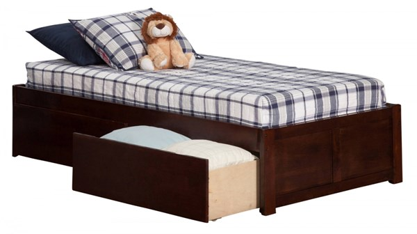 Atlantic Furniture Concord Walnut Flat Panel Footboard and Two Urban Drawers Twin XL Bed AR8012114