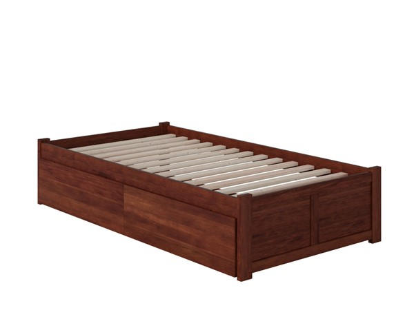 Atlantic Furniture Concord Walnut Twin XL Bed with Flat Panel Foot Board and 2 Urban Drawers AR8012114