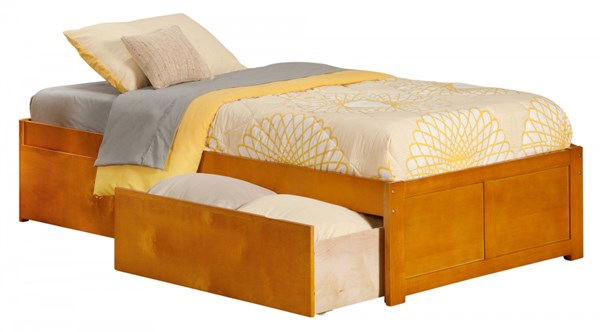 Atlantic Furniture Concord Caramel Latte Flat Panel Footboard and Two Urban Drawers Twin XL Bed AR8012117