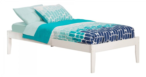 Concord Traditional White Wood Twin Platform Open Foot Bed AR8021002