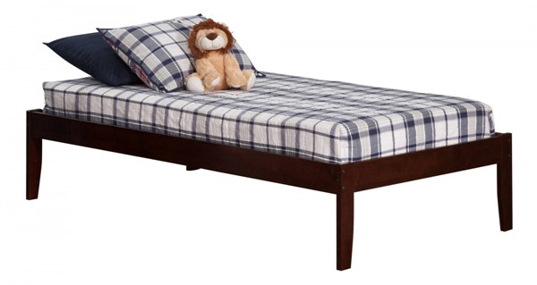 Concord Traditional Walnut Wood Twin Platform Open Foot Bed AR8021004