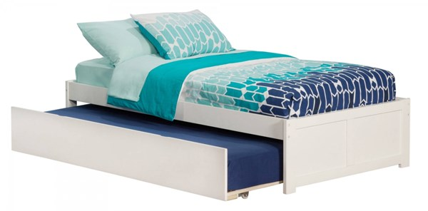 Concord White Wood Flat Panel Footboard & Urban Trundle Twin Bed AR8022012