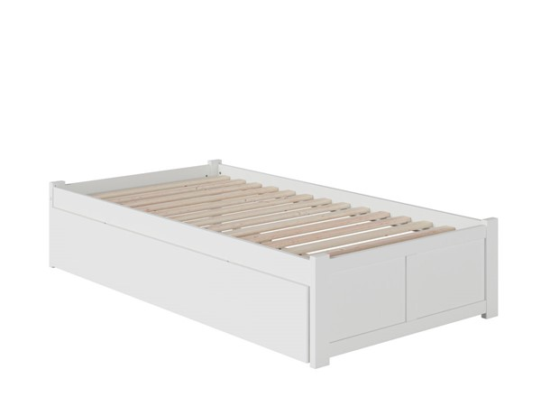 Atlantic Furniture Concord White Twin Bed with Flat Panel Foot Board and Twin Urban Trundle AR8022012