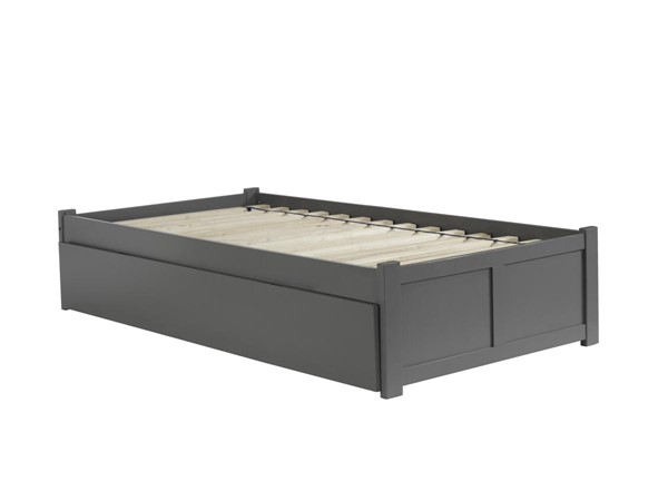 Atlantic Furniture Concord Grey Twin Bed with Flat Panel Foot Board and Twin Urban Trundle AR8022019
