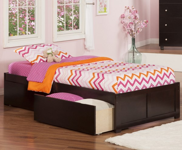 Urban Concord Espresso Beds W/Flat Panel Footboard & 2 Drawers AR80-KBEDS-VAR2