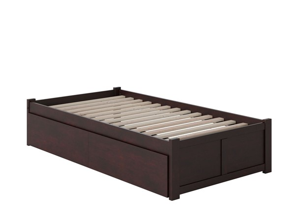 Atlantic Furniture Concord Espresso Twin Bed with Flat Panel Foot Board and 2 Urban Drawers AR8022111