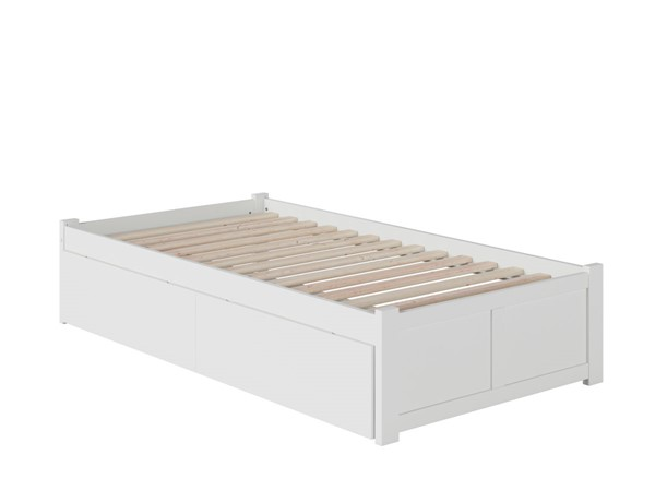 Atlantic Furniture Concord White Twin Bed with Flat Panel Foot Board and 2 Urban Drawers AR8022112